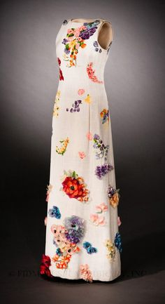Evening Gown by Marc Bohan for Christian Dior circa Spring summer 1963 made from Printed silk and linen plain weave Silk organza sewing with millinery flowers.