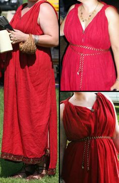 Very pretty buuuuut ...it should be the middle layer of Roman garb with a long sleeved tunica interior under it and a large palla (shawl) draped over it.