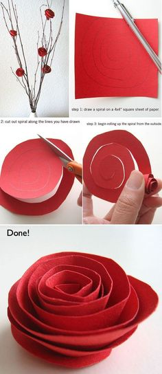 Beautiful Red DIY Paper Flowers for Valentines Day...Great Craft!