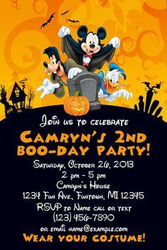 Halloween birthday invitation printable kids halloween party mickey mouse halloween birthday invitation filmwisefo Images
