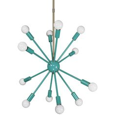 Turquoise Spherical Sputnik Chandelier 24' ($399) ❤ liked on Polyvore featuring home, lighting, ceiling lights, chandeliers & pendant lights, home & living, light yellow, orb pendant light, sphere chandelier, turquoise lamps and sphere light