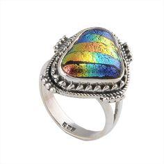 5.06g Dicoric Glass 925 Sterling Silver Ring Jewellery DJR-0003 #Ring