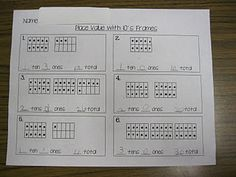 Place Value with Ten Frames, free worksheet