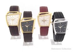 """Hamilton """"Flight"""" Registered Edition Asymmetric Vintage Watches, Late The two on the left are custom variations. Atomic Time, Beautiful Watches, Vintage Watches, Omega Watch, Hamilton, 1980s, Two By Two, Electric, Graphics"""