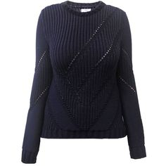 Yakshi Malhotra - Navy Engineered Rib Jumper ($180) ❤ liked on Polyvore featuring tops, sweaters, navy lace top, lace sweater, fitted sweater, blue crew neck sweater and patterned sweaters