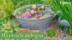 Miniteich create correctly- Miniteich richtig anlegen Whether in the garden, on the terrace or the balcony, a mini pond is a great asset and ensures a holiday atmosphere on Balkonien. Rustic Gardens, Outdoor Gardens, Mini Pond, Plantation, Diy Garden Decor, Garden Decorations, Garden Projects, Container Gardening, Diy Container Pond