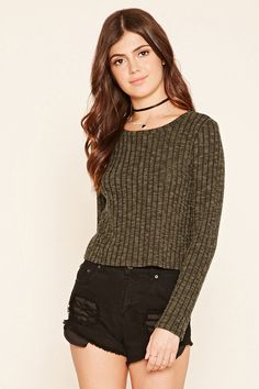 FOREVER 21  Cropped Ribbed Sweater | ☆ Forever 21 ☆ | Pinterest ...