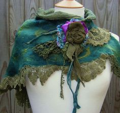 Nuno Felted Springtime Vintage Lace Forest Shawl Scarf by folkowl, $80.00