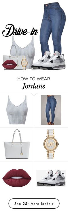 """WINE & DINE"" by officially-beautiful on Polyvore featuring NIKE, MICHAEL Michael Kors, Michael Kors, Lime Crime, DateNight, drivein and summerdate"