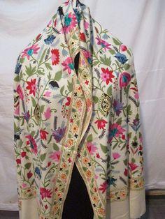 89f9da1d73c Crewel Embroidered Shawl. color Wool Stole with Kashmir Embroidery. India   ShawlWrap Kashmiri Shawls