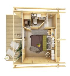 A tiny house ranging in size between 130-345 square feet that can be assembled in 5 hours.