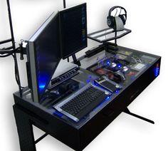 Computer Desk LED Plexiglass Case Mod is the Heart of all Geeks Gaming Computer Desk, Computer Build, Gaming Pcs, Computer Case, Gaming Setup, Geek Gadgets, Cool Gadgets, Pc Setup, Desk Setup