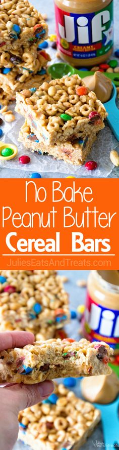 No Bake Peanut Butter Cereal Bars ~ Easy, No Bake Bars with Cheerios, Rice Krispies, M&M's, Peanuts that are Perfectly Ooey & Gooey! via…