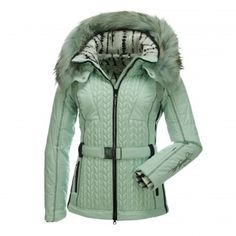 Sportalm Kitzbühel, Crocket ski jacket with fur collar, woman, Celadon green Posh ski jacket with decorative embroidery It's in the name already, Sportalm Kitzbühel. That's were this luxurious ski wear comes from. This ski jacket is made of high-end and elegant materials for a chic appearance on the slopes.