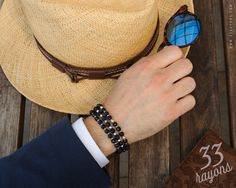 Mens bracelet BLUE GOLDSTONE MENS Sterling Silver by 33rayons