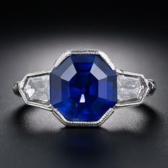 5.40 Carat 'No-Heat Burma' Sapphire and Diamond Ring