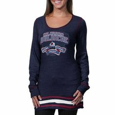 Reebok Colorado Avalanche Ladies Tri-Blend Long Sleeve T-Shirt - Navy Blue