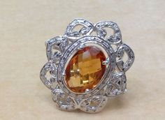 Natural Diamond Ring In Sterling Silver With Golden Hydro, Size 7.25