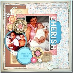 One page layout with Clementine paper and burlap ribbon flower by Tresa Black. #CTMH