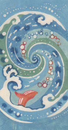 紅型雑貨 虹亀商店:felissimo Japanese Patterns, Japanese Art, Whale Art, Traditional Artwork, Fashion Painting, Okinawa, Asian Art, Animals And Pets, Folk Art