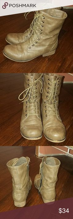 Madden girl Combat Boots 8 Nice condition,  came w a minor distressed look. Goes with any outfit.no rips or holes. Size 8 womens. Tie & zip on side. Smoke free home Madden Girl Shoes Combat & Moto Boots