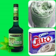 Mint Oreo Pudding Shots ------------------------------------------------- 1 small package cookies 'n creme instant pudding, 3/4 Cup Milk, 3/4 Cup Creme De Menthe, 8 ouce tub Cool Whip ----------------------------------- 1. Whisk together the milk, liquor, and instant pudding mix in a bowl until combined. 2. Add cool whip a little at a time with whisk. 3. Spoon the pudding mixture into shot glasses, disposable shot cups or 1 or 2 ounce cups with lids. (Place in freezer for at least 2 hours.)