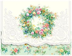 Carol Wilson Stationery  Spring Wreath Note Card Portfolio