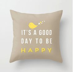 Happy pillow 16x16 Decorative throw pillows by MonochromeStudio, $35.00