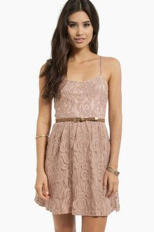 Come My Lacey Babydoll Dress in Taupe