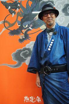 "tanuki-kimono: ""I love when men kimono go modern-style! Great denim collection by Bushoan "" Men's Yukata, Kimono Fashion, Fashion Outfits, Male Kimono, Men's Kimono, Modern Kimono, Design Textile, Oriental, Japanese Outfits"