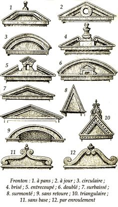 Common varieties of pediments, mostly here of baroque forms