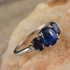 Himalayan Kyanite, Catalina Iolite, and White Topaz Ring in Platinum Overlay Sterling Silver (Nickel Free)