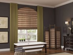 Adding bamboo window shades is an easy way to incorporate this peaceful plant with style. Start off this summer right and Feng Shui your home with bamboo shades from Budget Blinds. Mediterranean Window Treatments, Arched Window Treatments, Bathroom Window Treatments, Arched Windows, Window Coverings, Woven Wood Shades, Bamboo Shades, Sheer Shades, Roman Shades
