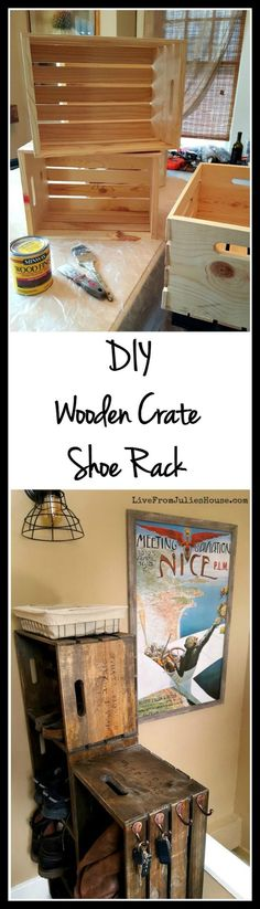 DIY Wooden Crate Shoe Rack - Live from Julie's House , DIY Wooden Crate Shoe Rack - Live from Julie's House. regal schuhe DIY Wooden Crate Shoe Rack - Live from Julie's House<br> regal schlafzimmer Wooden Crates Shoe Storage, Pallet Furniture Shelves, Shoe Storage Shelf, Entryway Shoe Storage, Diy Wooden Crate, Crate Shelves, Crate Furniture, Craft Storage, Storage Baskets