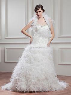 Luxurious Feathered Strapless Wedding Dress with Matching Bolero
