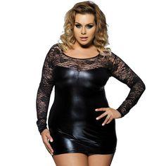 96131a1b4a9 Plus Size 2XL Women Long Sleeve Mini Dresses Sexy Black Faux Leather Fetish  Club Dress