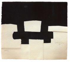 """Sicherlich habe ich schom all jenes gemacht, was ich kann. Daher muss ich mich stets dem zuwenden, was ich nicht kann. Eduardo Chillida – """"Berlin"""", 1990, Sieb- und Prägedruck/Hapaki-Papier, 42 x 47 cm"""