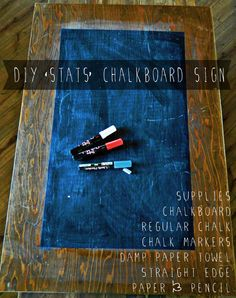 diy birthday stats chalk sign
