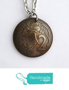New Zealand Domed Coin Necklace Flower Pendant 2 Cents 1974