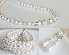 Bridal Jewelry Set Swarovski Pearl Bridal by MiaLuciaBridal