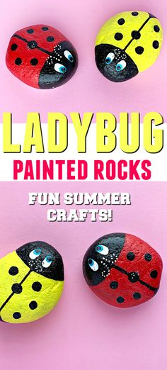Aren't these Ladybug Painted Rocks the cutest? These adorable little bugs will look amazing in your home and outside in your garden. #adultcrafts #kidscrafts #paintedrocks #rockpainting #gardencrafts #garden #summercrafts #gardendecor #outdoordecor #ladybug Rock Crafts, Easy Crafts, Kids Crafts, Homemade Crafts, Craft Activities For Kids, Craft Ideas, Indoor Activities, Activity Ideas, Diy Ideas