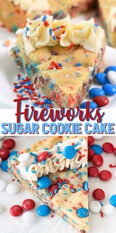 Fireworks Sugar Cookie Cake This EASY Sugar Cookie Cake is perfect for the of July! Fill the best sugar cookie recipe with M&Ms and sprinkles an make a patriotic sugar cookie cake with fireworks colors of red, white and blue! Patriotic Sugar Cookies, Patriotic Desserts, 4th Of July Desserts, Fourth Of July Food, Holiday Desserts, Holiday Recipes, Easter Recipes, 4th Of July Ideas, Holiday Candy