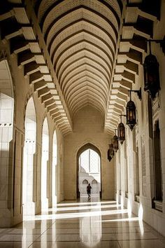 So many corridors with elegant arches are found in the Sultan Qaboos Grand Mosque in Muscat, Oman  - discover many photos in the post: http://www.zigzagonearth.com/muscat-oman-sultan-qaboos-grand-mosque/