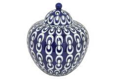 """10"""" Malia Covered Jar, Blue/White"""