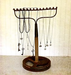 re-purposed rake for jewelry display. store or craft show