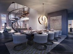 A lovely contemporary dining room with a spiral staircase nearby. Do you like the modern features of this room? Source: http://www.zillow.com/digs/Home-Stratosphere-boards/Luxury-Dining-Rooms/