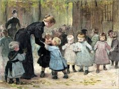 """""""In the Playground"""". Henry-Jules-Jean Geoffroy. French Painter (1853 - 1924)"""