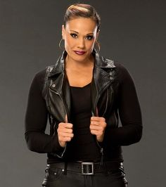 WWE Tamina Snuka Sleeveless Leather Vest on a decent discount at Buymoviejackets store. Leather Vest, Real Leather, Leather Jackets, Tamina Snuka, Women's Wrestling, Wwe Divas, Vest Jacket, Fit Women, Moana