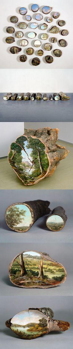 Alison Moritsugu - Paintings on Fallen Tree Logs