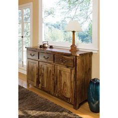 @Overstock - Alicia Buffet - Bring the beauty of natural sheesham wood into your home with this wide wood buffet from Corvallis. This spacious piece has three drawers and three cabinets to store all your dining essentials.  http://www.overstock.com/Home-Garden/Alicia-Buffet/5713836/product.html?CID=214117 $1,019.99